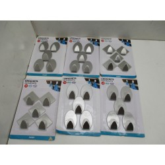 6 BLISTERS DE 5 CROCHETS ADHESIF INOX
